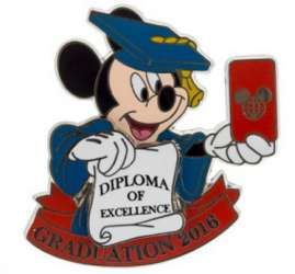 Mickey taking Selfie with Diploma