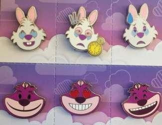 Alice in Wonder Land Disney Emoji Pin Set