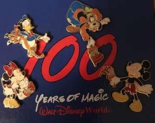 100 years of magic walt Disney World four pin Set