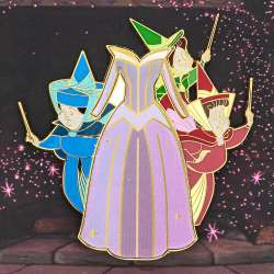 Flora, Fauna, and Merryweather and Aurora's lenticular dress