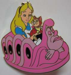 Alice in Wonderland characters riding Caterpiller Ride Vehicles
