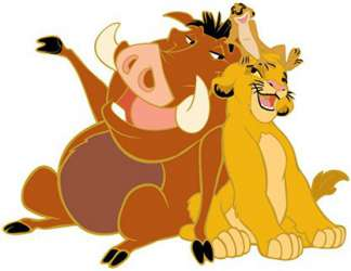 Timon, Pumbaa, and young Simba