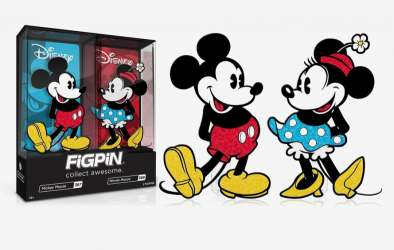 FiGPiN - Disney Mickey Mouse & Minnie Mouse Glitter Enamel Pin Set - Spring Convention Exclusive