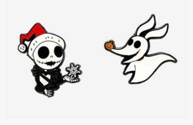 Nightmare Before Christmas Jack Skellington & Zero pin set