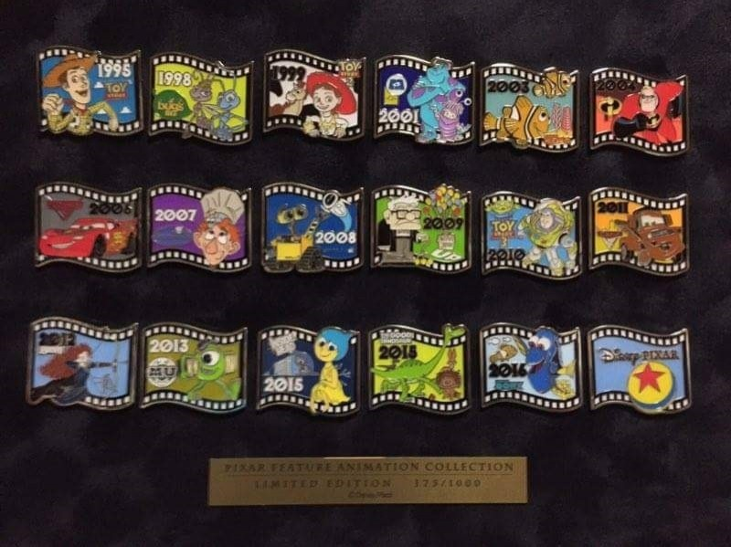 Pixar Feature Animation Collection Framed Pin Set